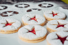 Linzer Christmas Cookies On A ...