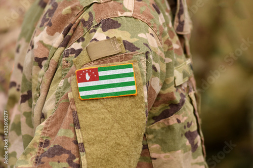 Photo Republic of Abkhazia, flag on soldiers arm