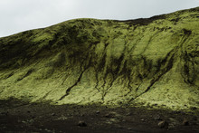 Moss Covered Mountain In Landmannalaugar, Iceland