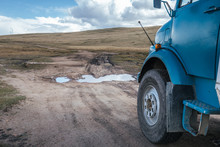 Camping Truck Driving Through Mongolia On Terrible Road Conditions