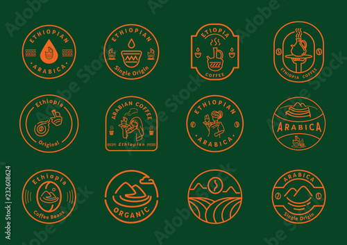 Projekt odznaki linii kawy Etiopii