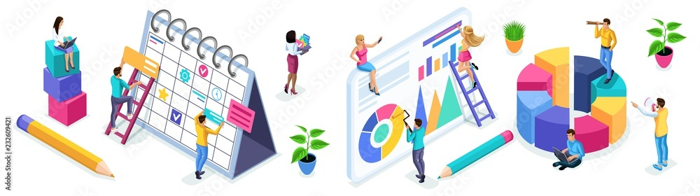 Fototapeta Isometric set of people and business icons on a white background. People in the process of work, teamwork, planning, business strategies, beginning entrepreneurs