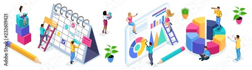 Fototapeta Isometric set of people and business icons on a white background. People in the process of work, teamwork, planning, business strategies, beginning entrepreneurs obraz
