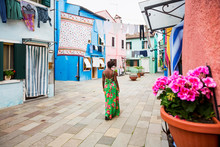 Woman Visiting Burano, Venice,...
