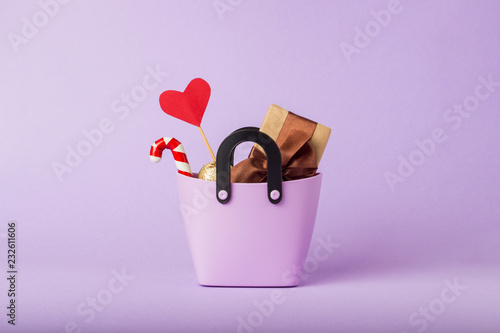 Small Plastic Bag For Shopping Gift Boxes Heart On A Stick Purple
