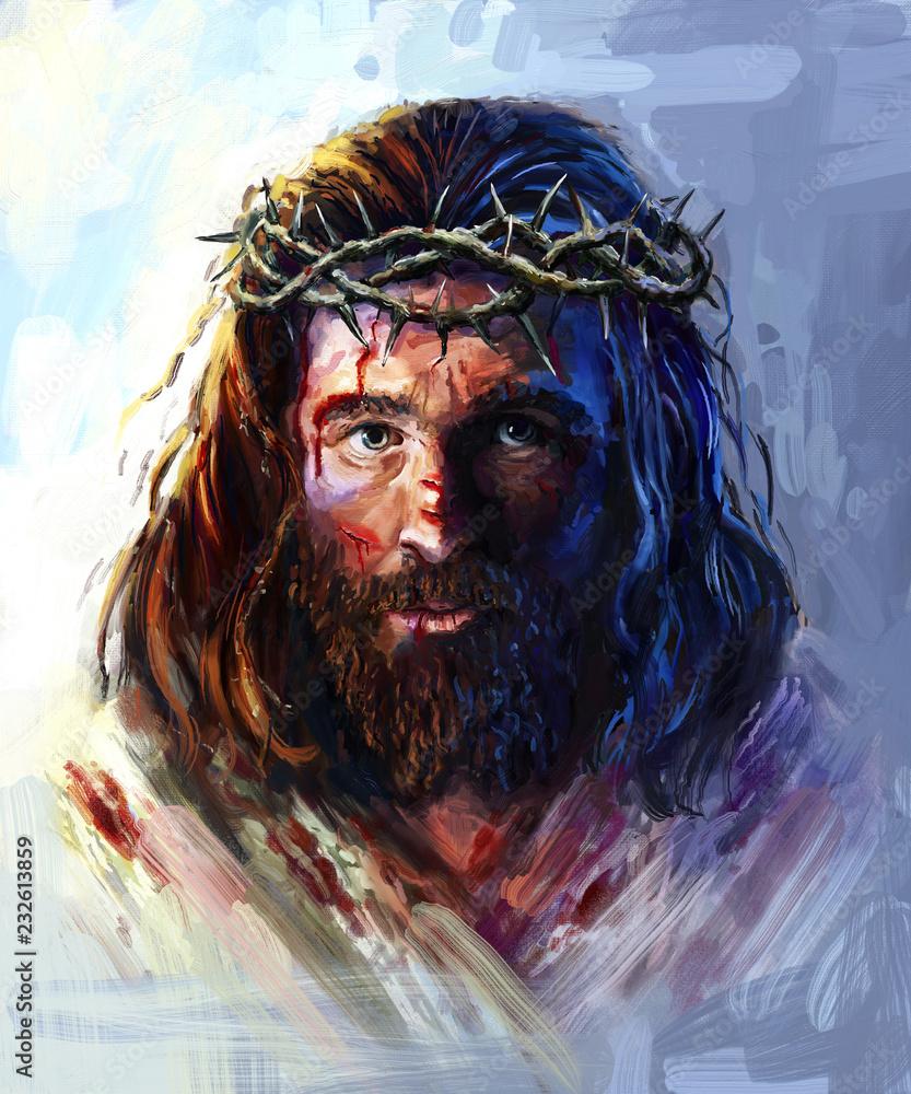 Fototapeta Jesus in the crown of thorns, painting
