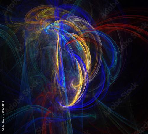 Staande foto Fractal waves image of one Digital Fractal on Black Color