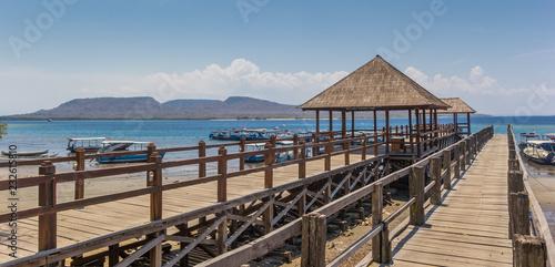 Printed kitchen splashbacks Zanzibar Panorama of a wooden jetty at the Bali Barat National Park, Indonesia