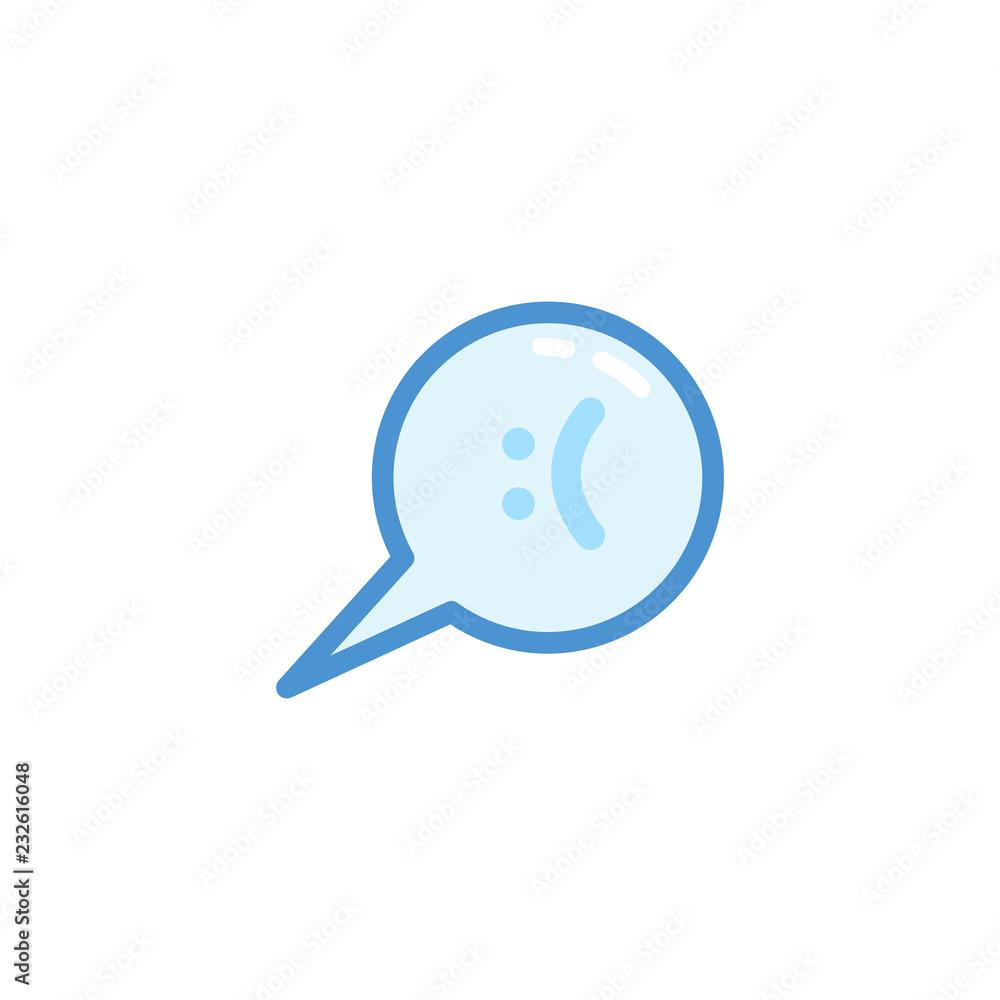 Fototapeta sad smiley emoji. emoticon in bubble speech with cute blue outline style
