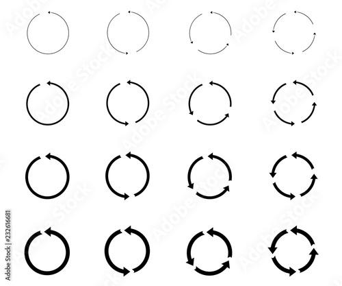 Obraz na plátně 16 arrow pictogram refresh reload rotation loop sign set