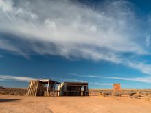 Abandoned Roadside Shelter In The Dry, Empty, Arid, Unforgiving Landscape Of The American Southwest.
