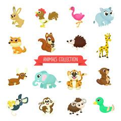 Big set of Cute animals Illustration with Cartoon Style