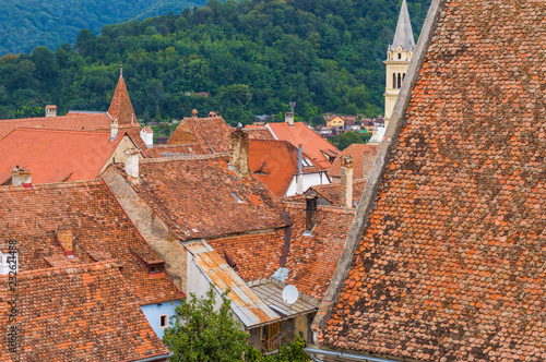 Papiers peints Corail Old traditional roofs of Sighisoara Town on background of Carpathian Forest