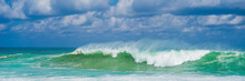Turquoise Rolling Wave Slamming On The Rocks Of The Coastline BANNER, LONG FORMAT