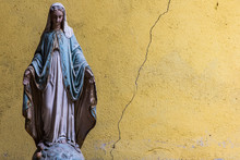 Old Virgin Mary Statue, Cracke...