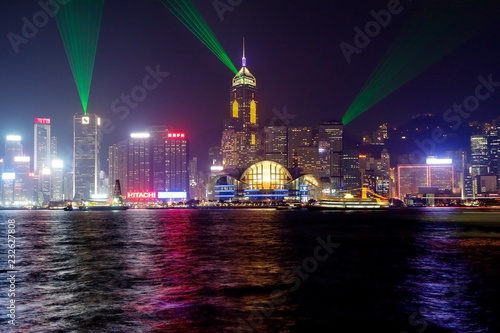 Spoed Foto op Canvas Aziatische Plekken Hong Kong, China, light and sound show