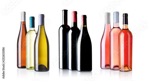 Fotografie, Obraz  white red and rosé wine bottles