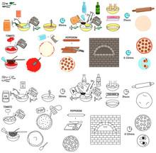 Recipe Pizza Pepperoni Vector Diy Instruction Manual Illustration Sketch Meal Food