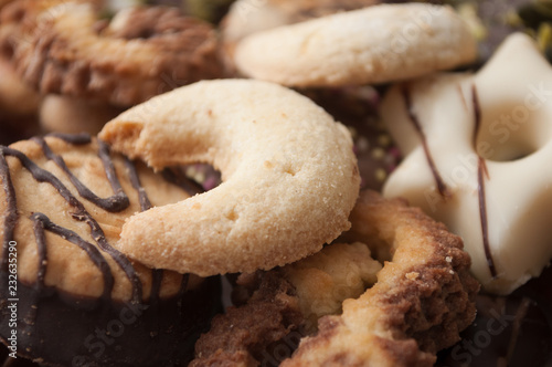 closeup of chocolate christmas biscuit assortment on full frame