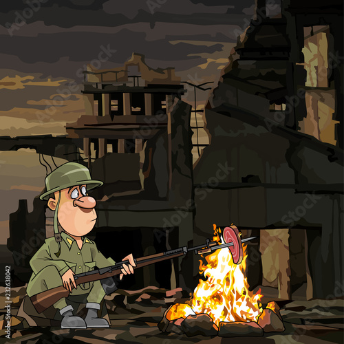 cartoon soldier roasting meat on a fire while sitting in ruins Fototapete