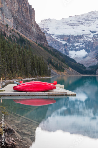 Group of canoes on a lake