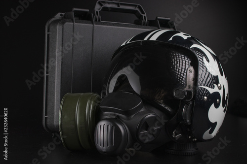 Fotografie, Obraz photo on black background of aviation helmet and other accessories
