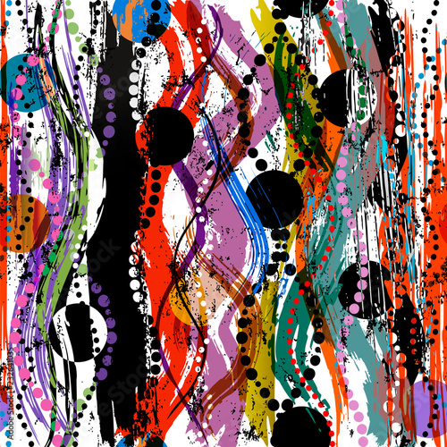 abstract pattern background, with circles, waves, strokes and splashes, grungy