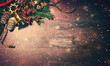 canvas print picture Christmas background with fir tree and decoration