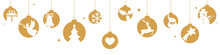 Christmas Banner With Hanging Golden Balls And Stars