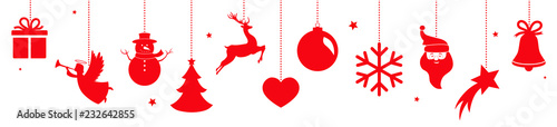 Photo  Christmas banner with hanging red decorations