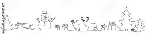 Fototapeta Christmas landscape line obraz