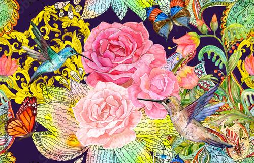 Tapety Barokowe  dziwaczny-wzor-z-fantazyjnych-kwiatow-i-kolibry-malarstwo-akwarelowe
