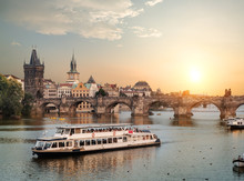 Touristic Boat In Prague