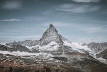 View Closeup Matterhorn Mountain, Scenes In National Park Zermatt, Switzerland