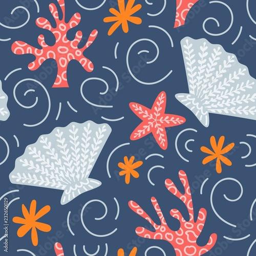 morski-bezszwowy-wzor-z-skorupa-rozgwiazda-i-koralami-wektor