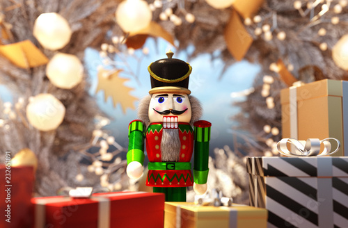 Fotografía nutcracker decorated for Christmas background,3d rendering