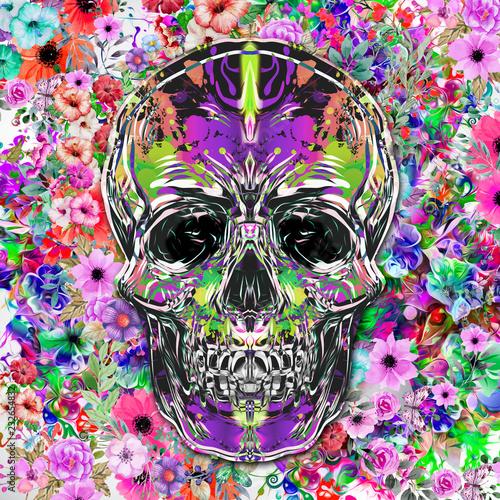 Цветной череп, изолированных на белом фоне