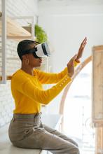 Woman Wearing Virtual Reality ...