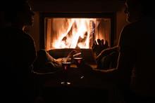 People In Dark Enjoying Wine N...