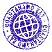 GUANTANAMO BAY Stamp Print With Distress Texture. Blue Vector Rubber Seal Print Of GUANTANAMO BAY Title With Corroded Texture. Seal Has Words Placed By Circle And Planet Symbol.