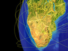 Southern Africa From Space On Planet Earth With Lines Representing Global Communication, Travel, Connections.