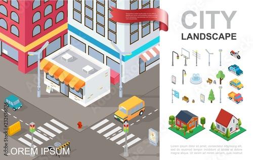 Cadres-photo bureau Cartoon voitures Isometric Cityscape Composition