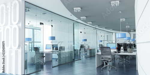 Obraz Modern corporate office blue - fototapety do salonu