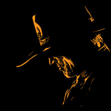 Man With Cowboy Hat Silhouette In Backlight. Illustration.