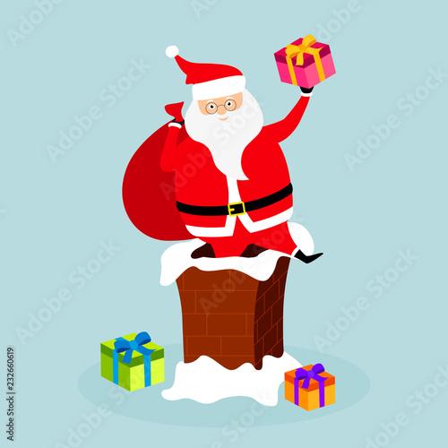 Fotobehang Indiërs Santa Claus in a chimney