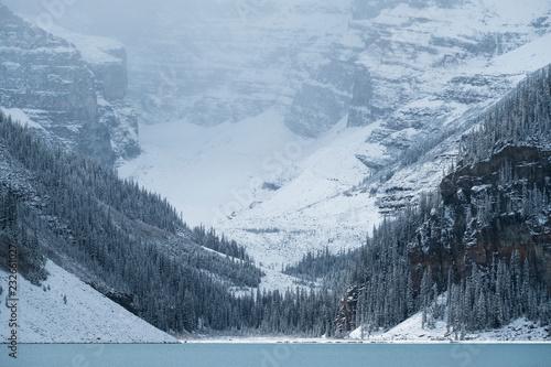 Misty Victoria Glacier above Lake Louise