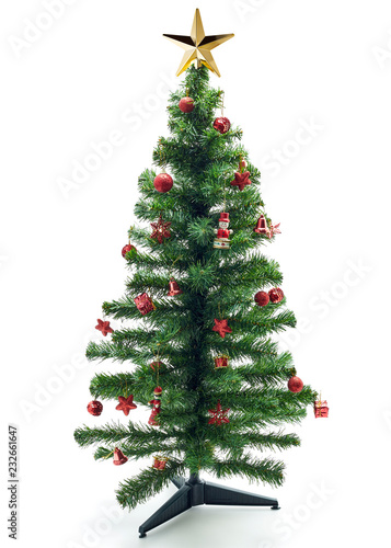 Fotografia  Christmas fir tree with colorful lights and decorations.