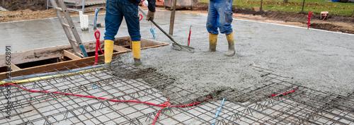 Leinwand Poster Betonieren von einem Fundament bzw. Decke für einen Neubau