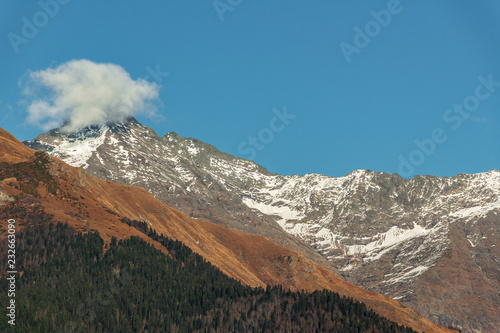 Landscape in the mountains. Rosa Khutor.