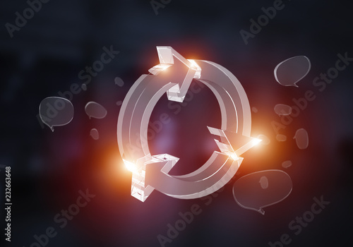 Obraz na plátně  Web refresh icons as symbol for internet use. Mixed media